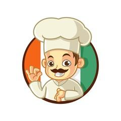 Italian Chef Mascot Cartoon Vector Illustration