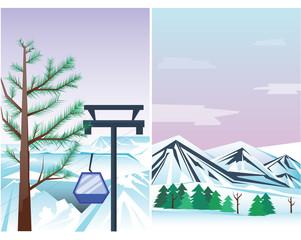 Winter holidays landscape vector illustration.