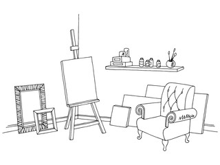 Art workshop graphic black white interior sketch illustration vector