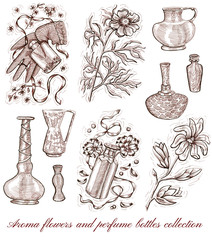 Aroma flowers and perfume bottles collection isolated on white