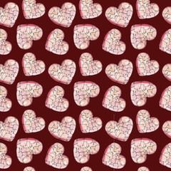 Розовое акварельное сердце из кусочков на бордовом фоне