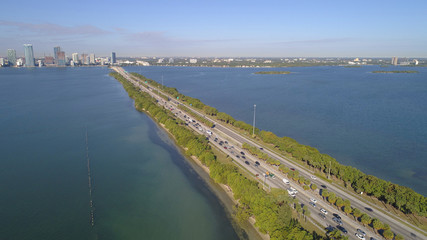 Aerial image of car traffic on the Julia Tuttle Causeway facing westbound