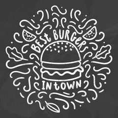 Best burgers in town. Chalk doodles on a blackboard. Vector hand drawn illustration