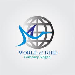 Peace world bird.Globe union brand logo, care clinic logo, togetherness concept logo