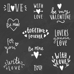 Cute love signs. Chalk on a blackboard. Vector hand drawn illustration