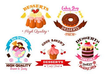 Dessert sweets, ice cream vector bakery icons set