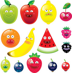 Fruits with funny faces