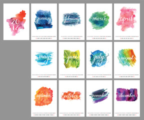 2018 vector calendar with lettering and watercolor textures