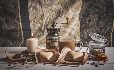 still life morning coffee on Valentine's day