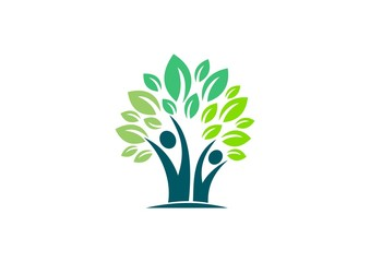 people, tree, health, ecology, nature, logo, leaves healthy life family tree symbol, wellness people tree icon vector design