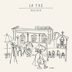 La Paz, Bolivia. Sleepy photographers waiting for customers in a city square in old town. Vintage artistic hand drawn postcard, poster, book illustration