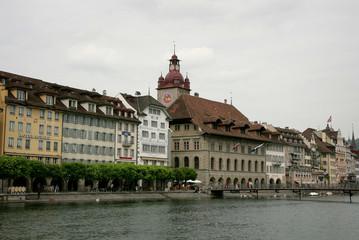 View of historical center with footbridge inLuzern, Switzerland