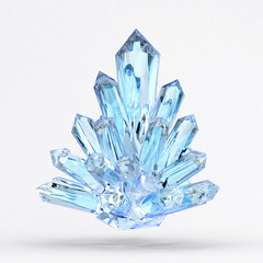 Blue Crystal isolated on white background ,3d