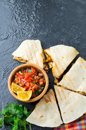 Mexican Quesadilla with chicken, corn, red beans, cheese and peppers ...