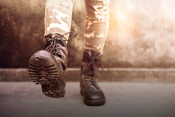 Boots of female soldiers.