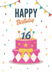 Birthday greeting and invitation card with sweet 16 birthday cake illustration.