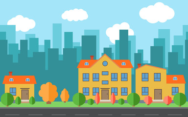 Vector city with cartoon houses with trees and shrubs. City space with road on flat style background concept. Summer urban landscape. Street view with cityscape on a background