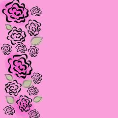 vector illustration rose on a pink background invitation card