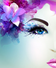 Fototapete - Beautiful young woman looks straight. Light blooming orchid decorated abstract pink blue hair.