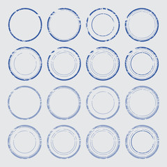 Set of empty round stamps
