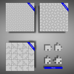 Puzzles of 256, 100, and 25 parts with pieces and shadow