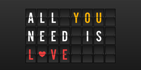 All You Need is Love Vector Illustration in Airport Flip Board