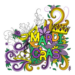 Mardi Gras or Shrove Tuesday. Colorful background with carnival mask and hats, jester s hat, crowns, fleur de lis, feathers and ribbons. Vector illustration
