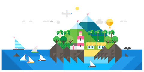 Island landscape. Tourist huts on the coast, tourist village near the mountains. Vacation, relaxation, ocean, sun, palms. Vector flat illustration