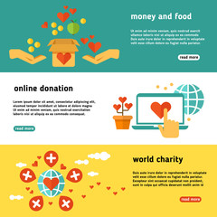 Nonprofit, charity, philanthropy, donate, giving donation, social help vector banners set