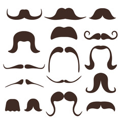 Funny cartoon mustaches vector comic set