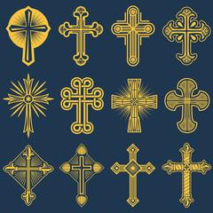 Gothic catholic cross vector icons, catholicism symbol