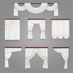 White curtains drapery for wedding room and windows vector set