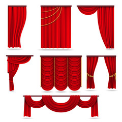 Red velvet stage curtains, scarlet theatre drapery isolated on white vector set