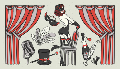 Set of vintage illustrations with cabaret show objects and beaut