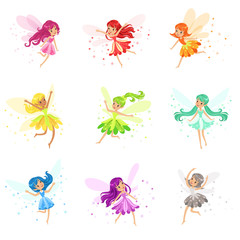 Colorful Rainbow Set Of Cute Girly Fairies With Winds And Long Hair Dancing Surrounded By Sparks And Stars In Pretty Dresses