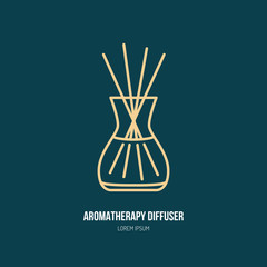Vector line icon of aromatherapy diffuser, simple silhouette for spa salon. Essential oils shop linear logo.