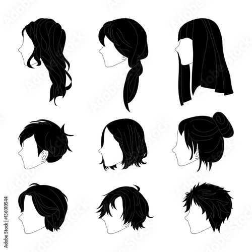Collection Hairstyle Side View For Man And Woman Hair Drawing Set - Drawing a hairstyle