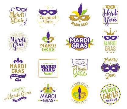 Mardi Gras typography set.