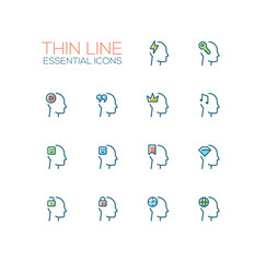 Thoughts in Heads - Thin Single Line Icons Set