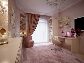 Tender and bright pink children's room
