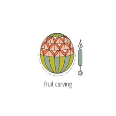 Fruit carving line icon