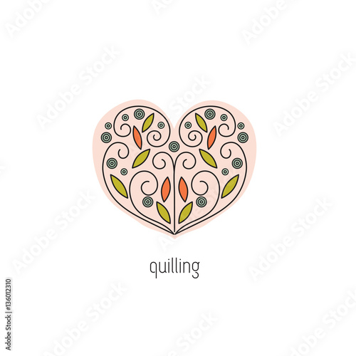 Quilling Line Art : Quot quilling line icon stock image and royalty free vector