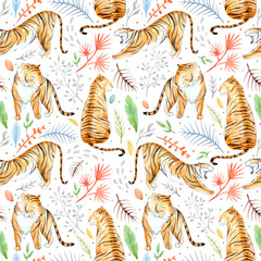 Watercolor vector tropical pattern