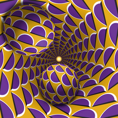 Optical illusion illustration. Two balls are moving in mottled hole. Purple crescent on yellow pattern objects. Abstract fantasy in a surreal style.