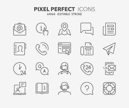contact and support thin line icons