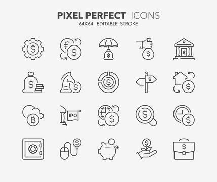 money thin line icons 2