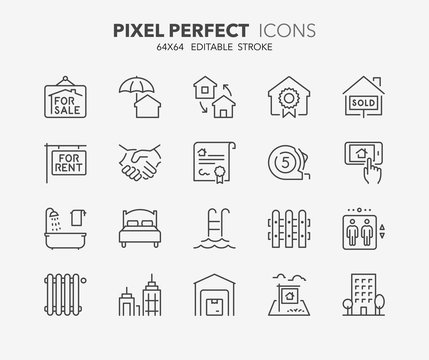 real estate and homes thin line icons 2