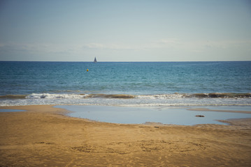 Beautiful sea views with yacht, Mediterranean Sea
