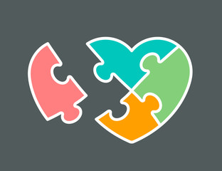 Conceptual icon of heart shaped jigsaw puzzle