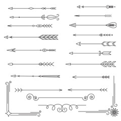 Collection of arrows and dividers, isolated on white background